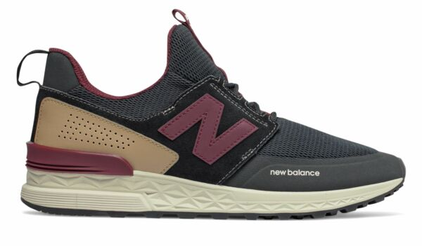 New Balance Men's 574 Sport Comfortable Athletic Fitness Shoes Black With Red