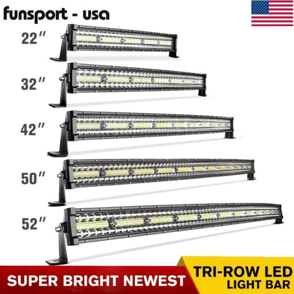 52 50 42 32 22#x27;#x27; inch Curved Tri Row LED Light Bar Spot Flood Driving Offroad