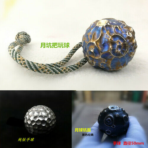 Titanium Hand Toys Carving Moon Sculpture Lunar Meteor Crater Solid Ball Bauble