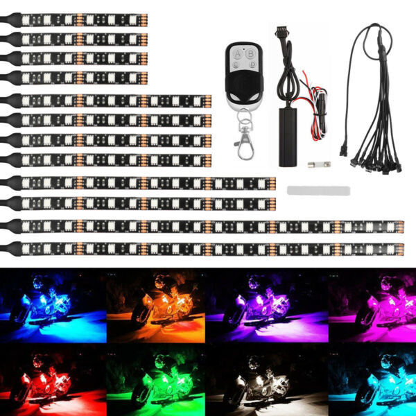12Pcs Motorcycle RGB 120LED Neon Under Glow Lights Strip Kit For Harley Davidson