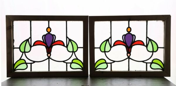 Pair of Antique Stained Glass Windows Six Color Floral Design  (4409)