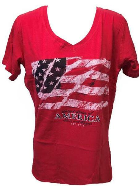 NEW Patriotic USA  4th of July 1776 Womens Size L Large Red V-Neck Shirt $8.49