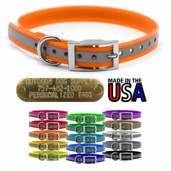 15quot; Hunting Dog Reflective Name Collar 3 4quot; D Ring amp; Custom Brass Tag Name Tag $9.95