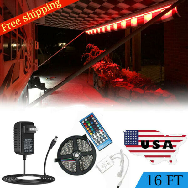 RV Awning Camper 16ft RGB+W Color Changing LED Strip Light Kit Dual Lights