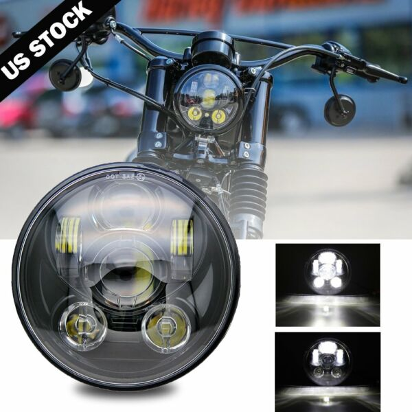Black 5 3 4quot; 5.75 LED Headlight High Low for Harley Sportster XL 883 1200 Dyna $29.99