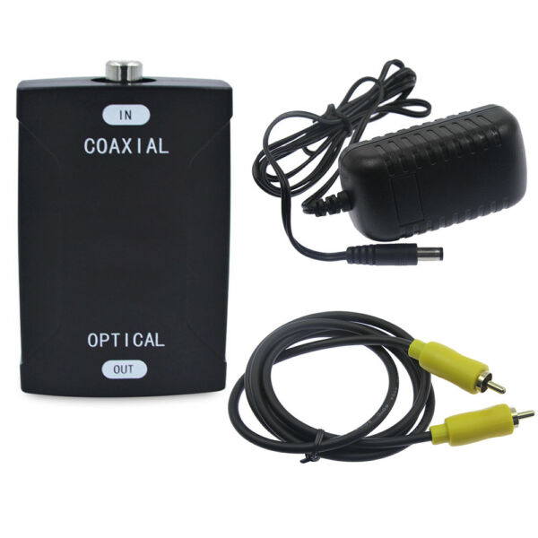 Coaxial to TOSlink Optical Digital Audio Converter HD Sampling & 3ft RCA Cable