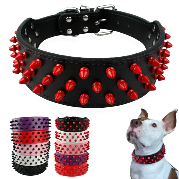 Large Dogs PU Leather Dog Collar Spiked Studded Cool Collar for Pitbull Labrador $12.99
