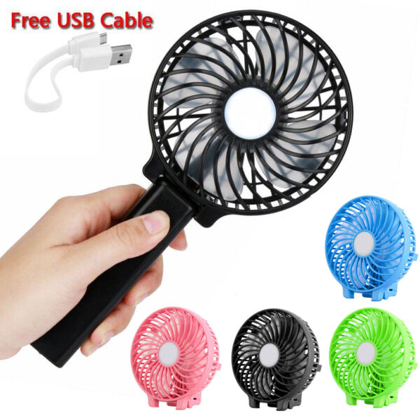 Foldable Portable Personal Handheld USB Mini Fan Cooling 3 Speeds with Battery