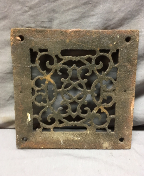 1 Antique Cast Iron Fireplace Grill Grates 8x8 Wall Ceiling Vent 441-19Lr