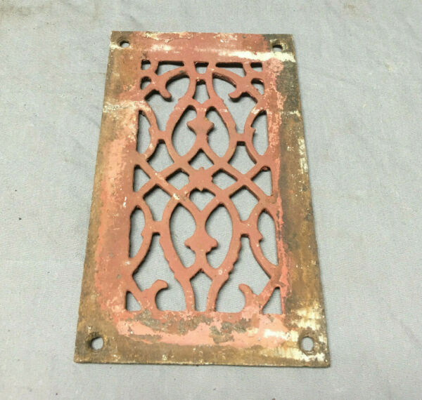 1 Antique Cast Iron Fireplace Grill Grates 5x9 Ceiling Vent Old Vtg 445-19Lr