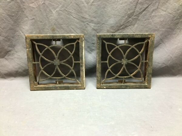 Pair Antique  Cast Iron Fireplace Grill Grates 8x8 Air Vent  Old Vtg 171-19B