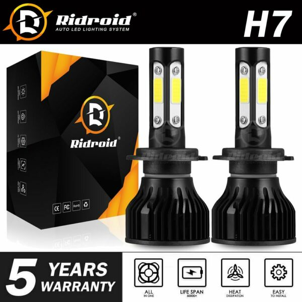 Pair 4-sides H7 CREE LED Headlight Kit 2400W 6000K 360000LM Replacement Bulbs JO