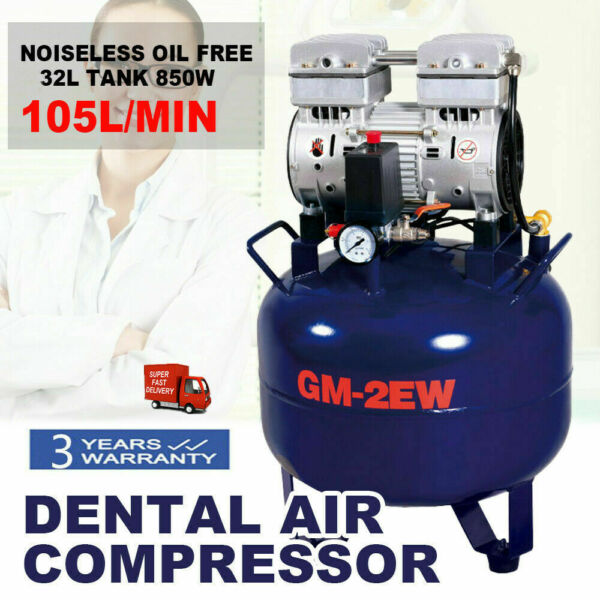 Dental Medical Noiseless Oil Free Oilless Air Compressor 32L 850W EU PLUG 220V