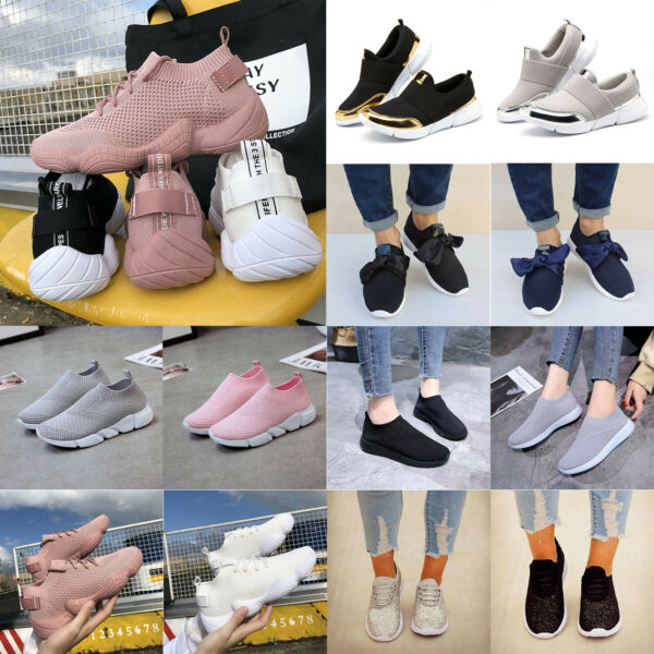 Women Walking Sneakers Trainers Sock Knitted Running Comfy Casual Athletic Shoes