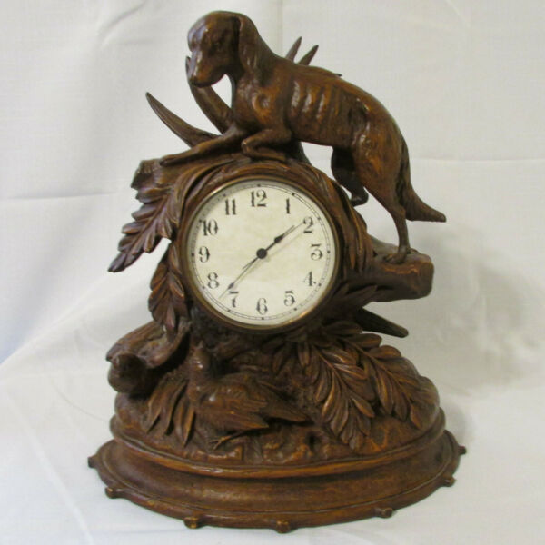 OK CASTING Resin Wood Look Rustic Mantle Clock Hunting Dog & Birds Made USA