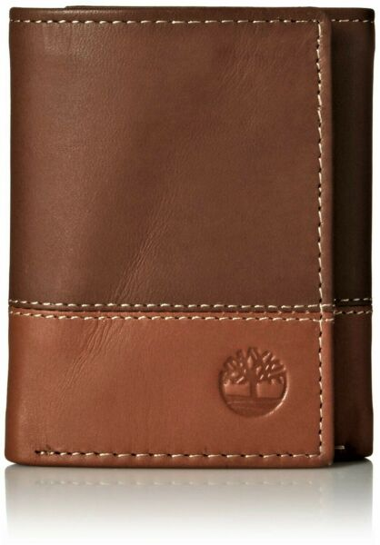 Timberland Men#x27;s Premium Genuine Leather Trifolder Wallet Brown Tan $19.95