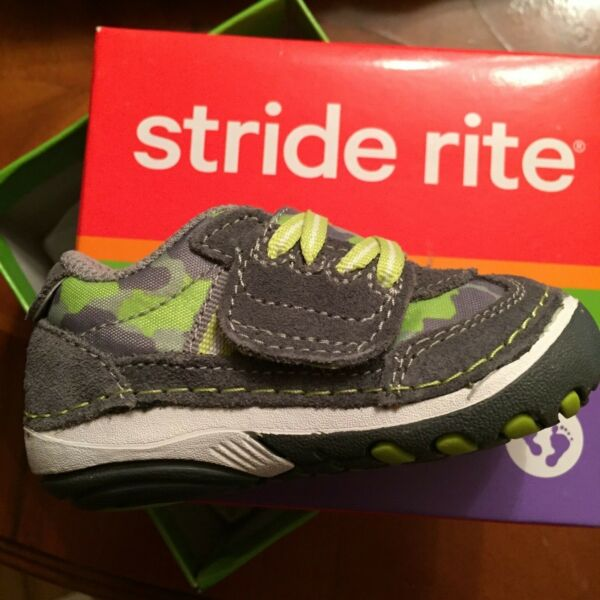 STRIDE RITE 3 M New In The Box SRTech SM HAMMETT Toddler CAMO GREY GREEN Shoes $34.95