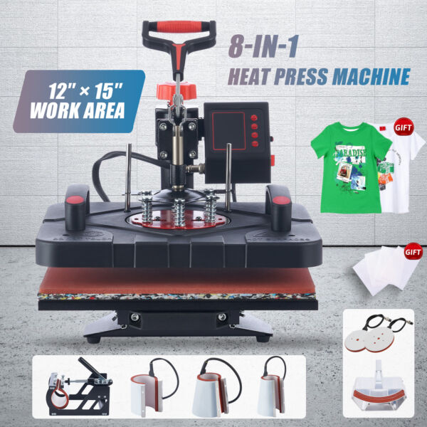 15quot;x15quot; 5 IN 1 Combo T Shirt Heat Press Transfer Machine Sublimation Swing Away