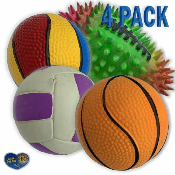 Amazing Pet 4 Pack of Latex Sport Ball Squeak Toys for Dogs and Cats 1 2.5...