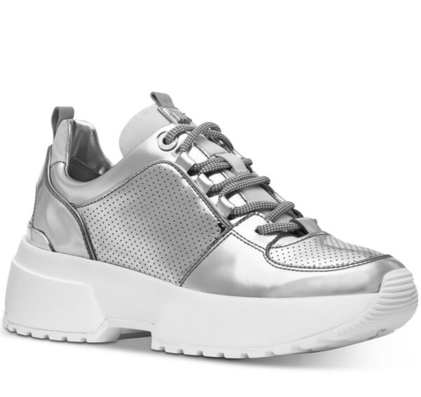 NIB size 5 Michael Kors Cosmo Trainer Lace Up Sneakers Silver