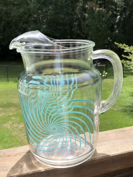 Vintage FEDERAL GLASS Lipped Pitcher Turquoise Swirl ATOMIC BURST mid century