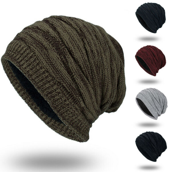 Men's Womens Knit Baggy Beanie Oversize Winter Warm Hat Ski Slouchy Thick Cap US