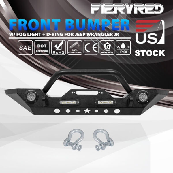 Front Bumper with LED Lights Built in Winch Plate for Jeep Wrangler JK 07-18