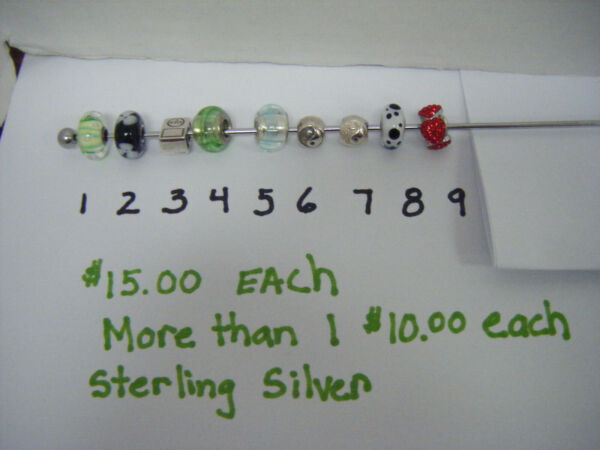 STERLING SIVER MURANO SLIDE CHARMS $15.00