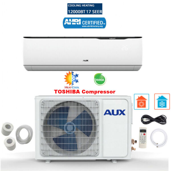 12000 BTU Mini Split Air conditioning Heat Pump w Kits 115V 12ft 17 SEER White $529.99