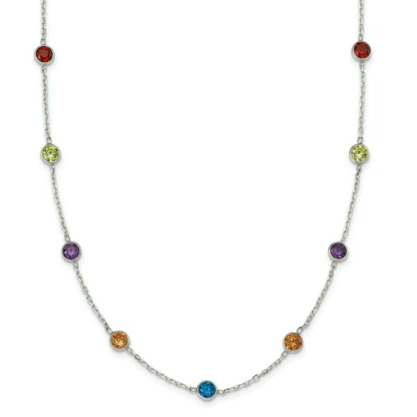 Sterling Silver 18in Multi-color Synthetic CZ Necklace