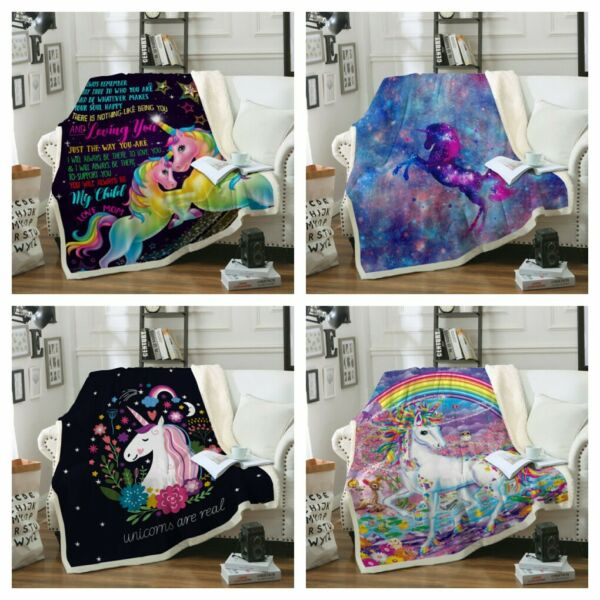 Sherpa Unicorn Blanket Rug For Couch Sofa Bed Throw Soft Tapestry Hot Sale