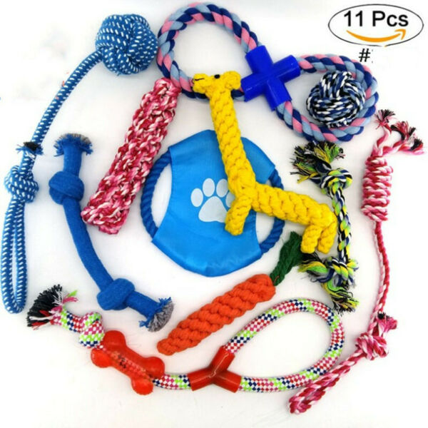 Dog Rope Toys for Aggressive Chewers - Set of 11 Durable Long Lasting Pet Toys