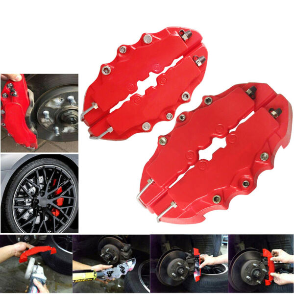 4PCs Brembo Style 3D Red Disc Brake Caliper Covers Front & Rear Kits Auto Parts