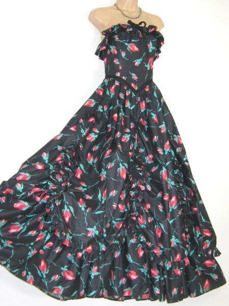 LAURA ASHLEY VINTAGE TULIP FLORAL SWAGS & BOWS SOUTHERN BELLE DRESS 68 (12)