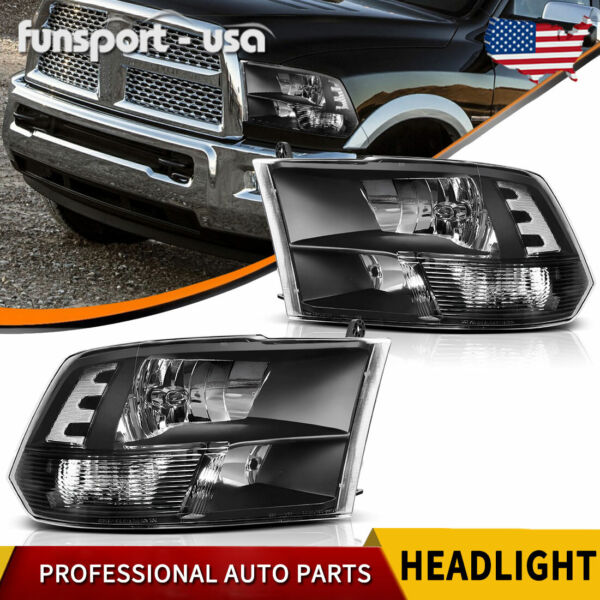 For 2009 2018 Dodge Ram 1500 2500 3500 Black Quad Headlights Lamps LeftRight $108.81