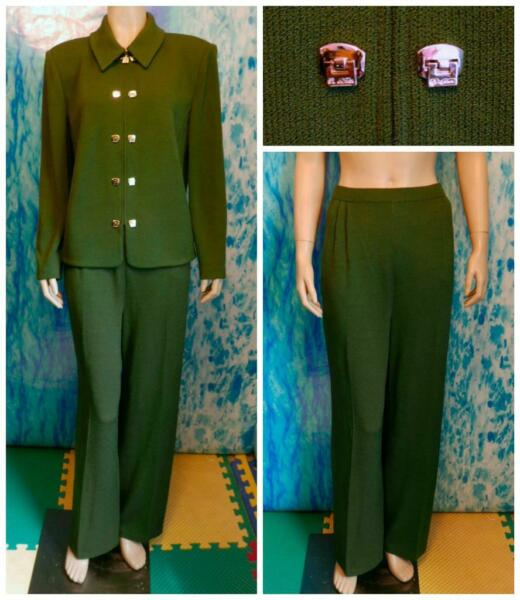 St John Knits Collection Green Jacket Pants L 12 14 2pc Suit Gold Buttons Zipper