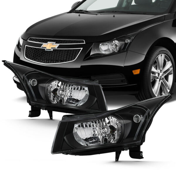 2011-2015 Chevrolet Cruze LS LT LTZ Eco Turbo Black Front Headlights LEFT+RIGHT