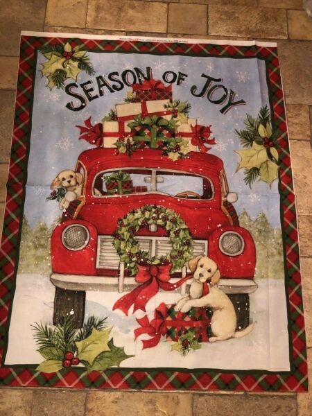 Christmas Season of Joy Red Truck 100% cotton fabric by the panelyard 36 x 45