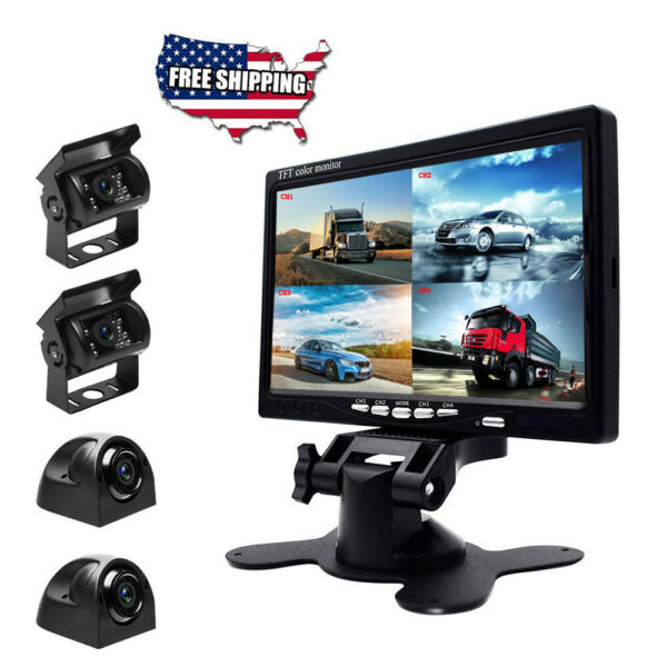 7quot; Monitor 4 Split Screen Car Monitor with 4 Cameras for Truck Bus Motorhome RVs $109.99