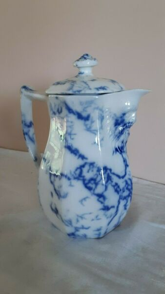 Flow Blue Marble Toast Jug With Face-Rare Form