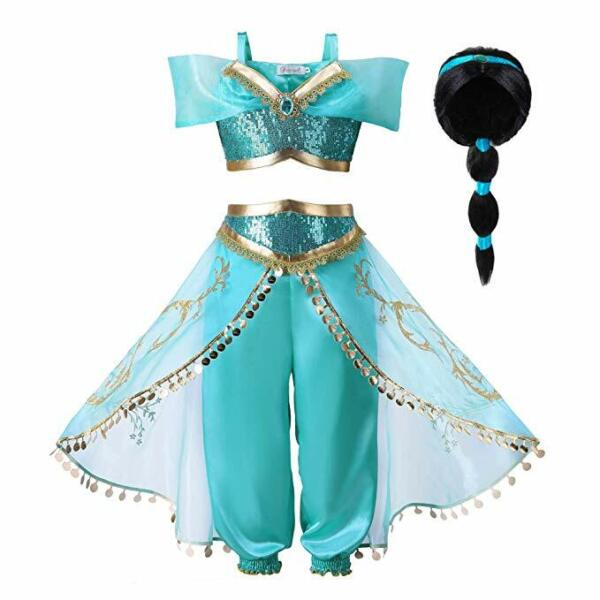 Princess Jasmine Cos Costume Outfit Kids Girls Aladdin Halloween Dress With Wig