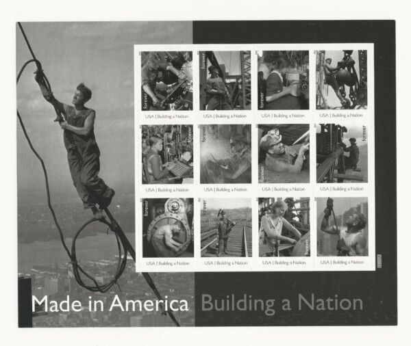 2013 #4801 Made in America Building a Nation Pane of 12 Forever Stamps Random $15.99