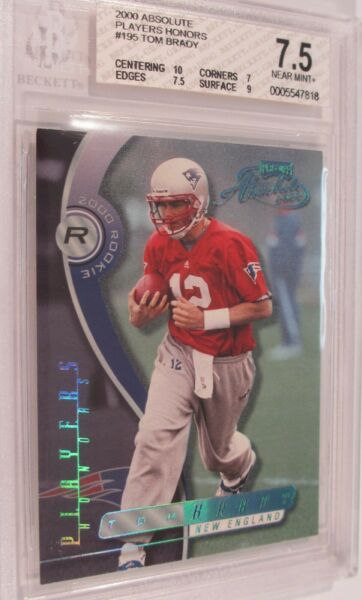 2000 TOM BRADY ABSOLUTE PLAYOFF PLAYERS HONORS SN 910 RC 7.5 BGS 10 CENTERING