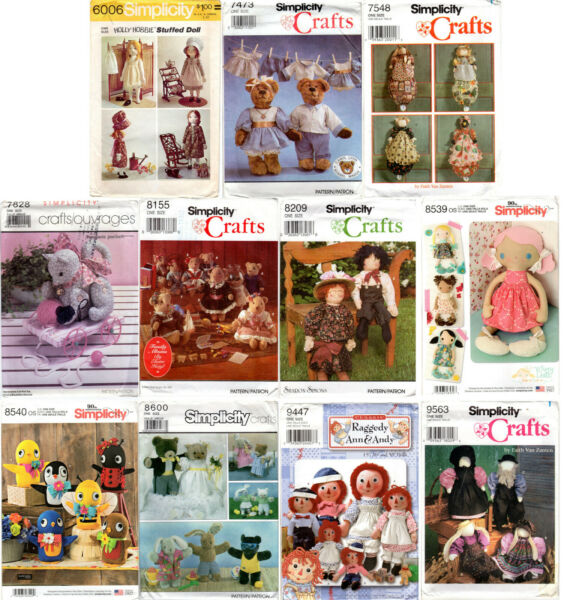 CHOICE: UNCUT Simplicity Crafts Patterns Dolls & Clothes