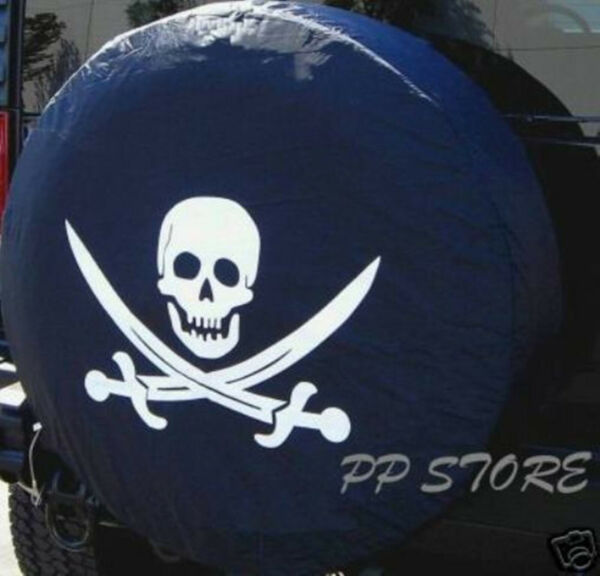 13quot; DIY trailer Spare tire tyre Wheel Cover Pirate Skull Brand New S $9.88