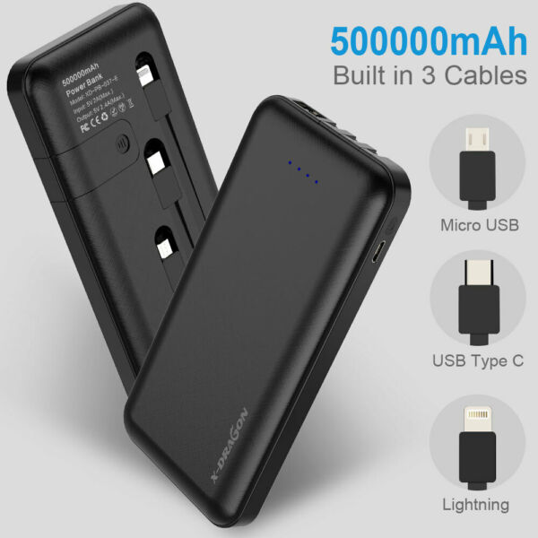 500000mAh Power Bank LED USB Portable External Battery Charger Built-in Cables