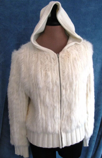 Evie silk soft luxury SMALL S Cuddly FLUFFY ivory hoodie sweater $13.99