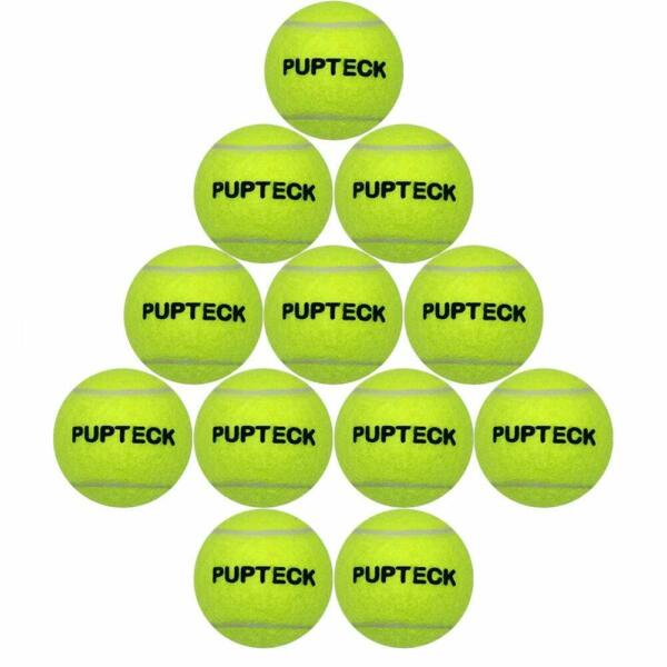 2.5 inch 12 Pack Dog Squeaky Tennis Balls for Pet Playing High Vision Yellow Toy