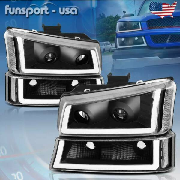 For 2003 2006 Chevy Silverado Black Clear Projector Headlight lamp W LED DRL US