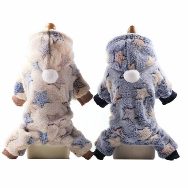 Soft Fleece Dog Jumpsuit Winter Dog Clothes Small Puppy Coat Pet Outfits Hoodie $2.64